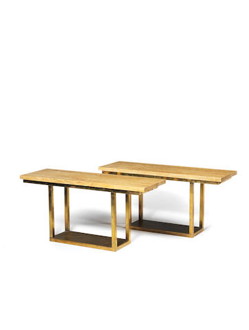 A Pair of Console Tables Italian circa 1970  brass and travertine  27 15/16 x 59 1/16 x 19 1/2 in. 71 x 150 x 49.5 cm.