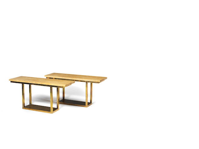 A pair of travertine and brass console tables Italian c 1970