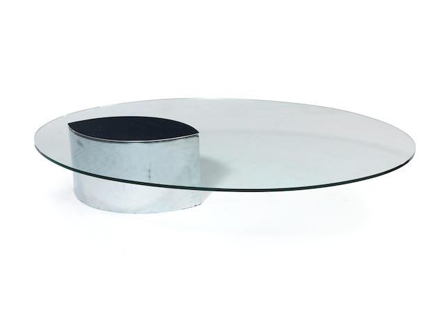 Cini Boeri for Gavina A Lunario Coffee Table designed 1971  chromed steel and glass paper label for Gavina  Height: 11 5/8 in. 29.5 cm. Width: 59 1/16 in. 150 cm.