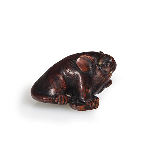 A stained boxwood netsuke of mouse<BR />By Shigekazu, Edo period (19th century)