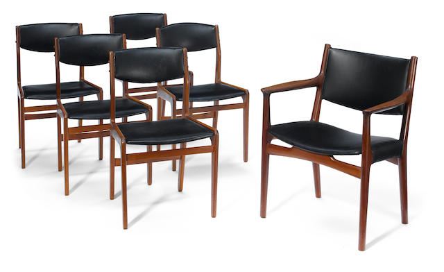 A set of six Danish teak and leather dining chairs