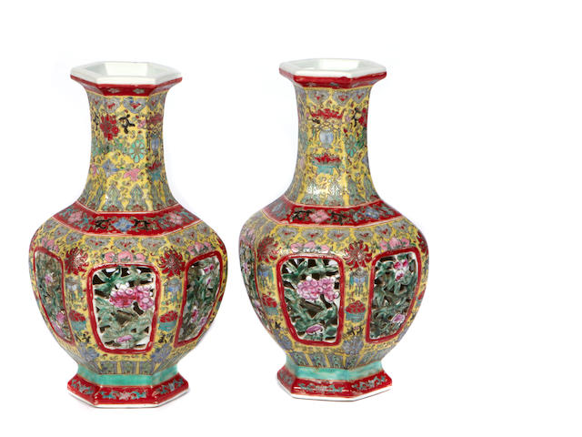 A pair of Chinese reticulated porcelain vases