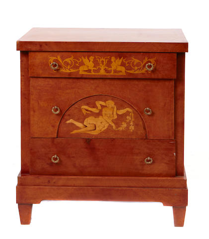 A near pair of Continental Neoclassical style inlaid commodes