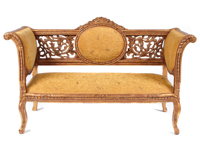 An Italian Rococo style paint decorated settee