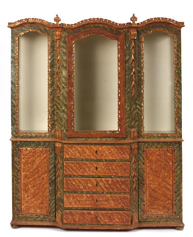 An Italian Rococo style paint decorated cabinet