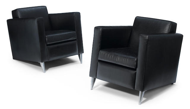 A pair of Philippe Starck leather and aluminum Len Niggelman armchairs designed circa 1986