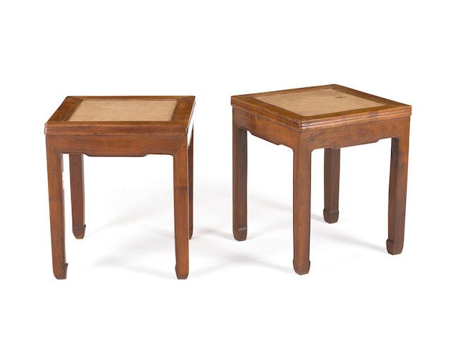 A pair of huanghuali square stools