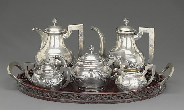 A five-piece export silver tea and coffee service Republic period