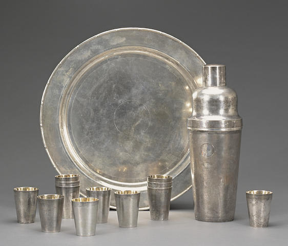 An assembled export silver cocktail set Republic period