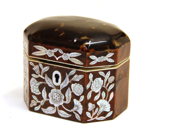A small George III style octagonal tortoiseshell and mother-of-pearl tea caddy  20th century