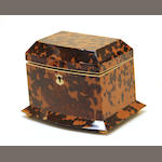 A William IV style tortoiseshell tea caddy 20th century
