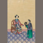 A Chinese export painting on pith paper depicting a woman and attendant 18th century 14 ¾ x 8in