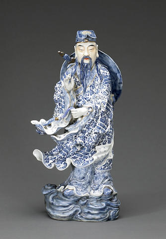 An underglaze blue and polychrome enameled porcelain figure of Lu Dongbin 20th century