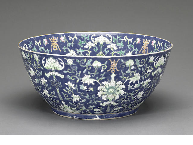 A large porcelain bowl with overglaze enamels 19th century