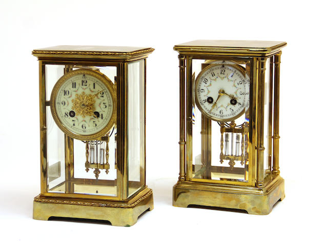 Two French brass four-glass regulator mantel clocks early 20th century