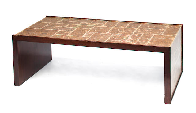 A mica veneered mahogany low table contemporary, in the manner of Samuel Marx