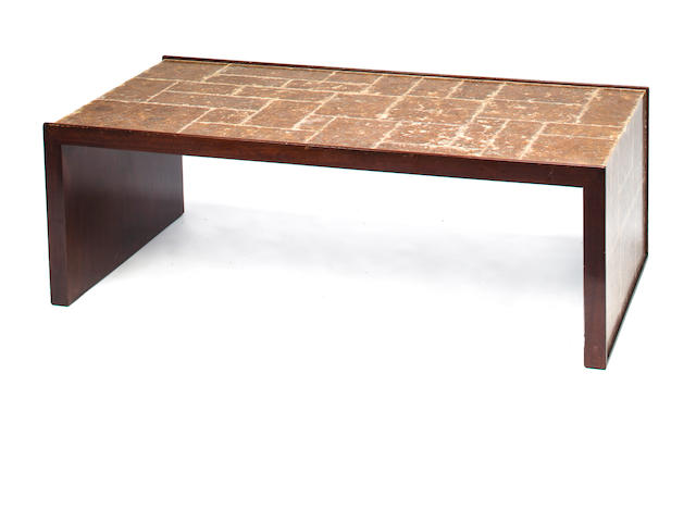 A contemporary mica veneered mahogany low table<BR />in the manner of Samuel Marx