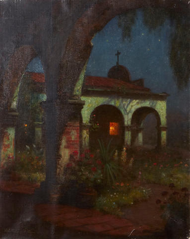 William Barr (British/American, 1867-1933) San Juan Capistrano Mission by Moonlight 20 x 16in