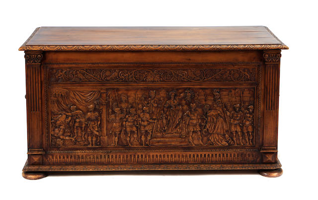 A Renaissance style carved walnut chest