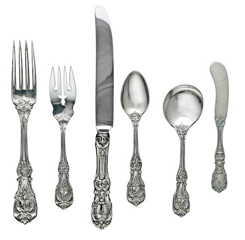 An American sterling silver part flatware service for eleven<BR />by Reed & Barton, Taunton, MA, mid-20th century