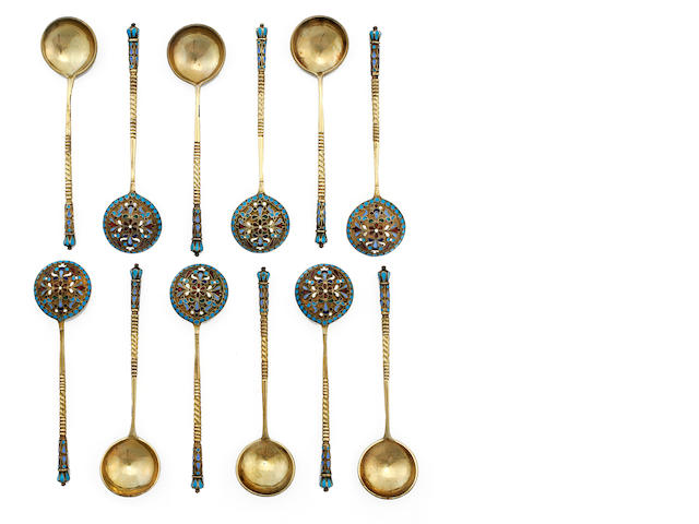 A set of twelve Russian silver-gilt and cloisonné enamel teaspoonsmaker's mark in Cyrillic VA, Moscow, 1880s
