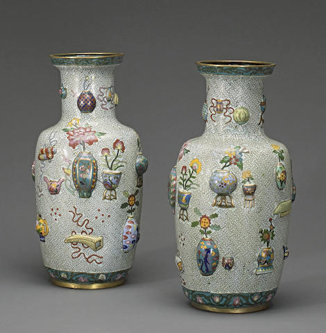 A pair of cloisonné enameled metal vases with One Hundred Antiques decoration 20th century