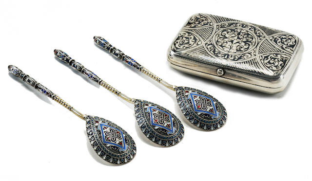 Three Russian silver and cloisonné enamel spoons together with silver and niello cigarette casespoons: Gustav Klingert, Moscow, 1892; cigarette case: Daniil Petrov, Moscow, 1893