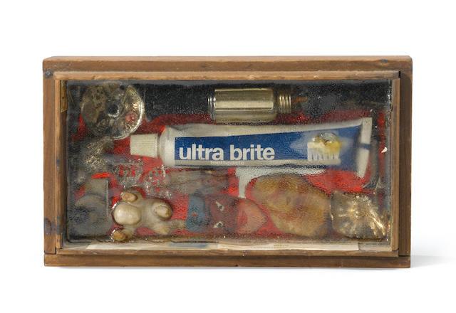 Louis Goodman, Ultrabrite, mixed media assemblage; Louis Goodman, Unknown, 1950, assemblage (2)
