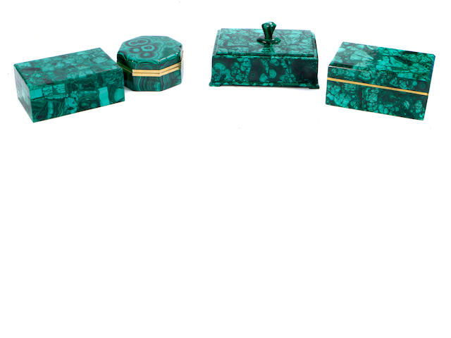 A group of four Russian Neoclassical style malachite boxes