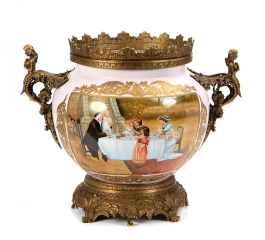 A Louis XV style gilt bronze mounted bowl