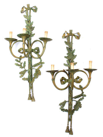 A pair of Neoclassical style wall lights