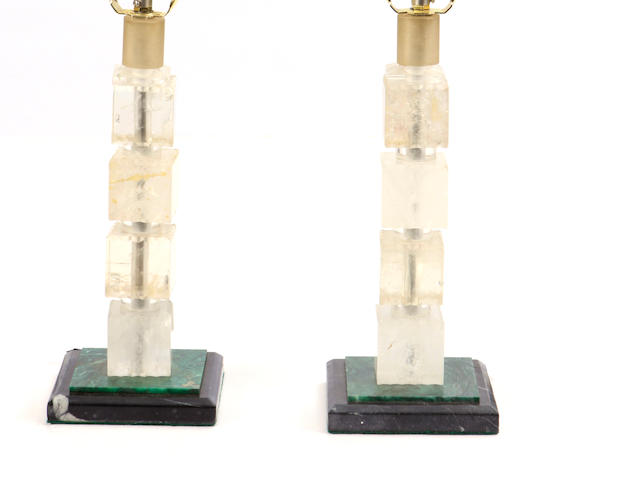 A pair of malachite, marble and rock crystal lamps