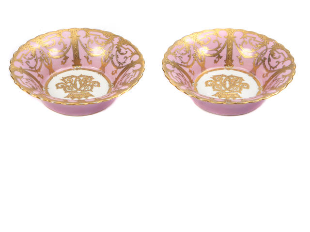 A set of eight Louis XV style parcel gilt porcelain bowls