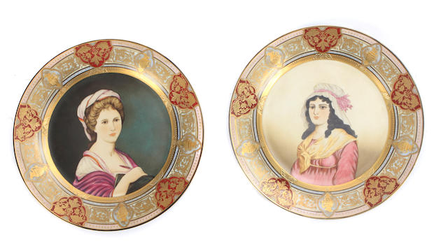 A set of six Vienna style portrait plates