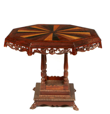 A mixed wood inlaid center table