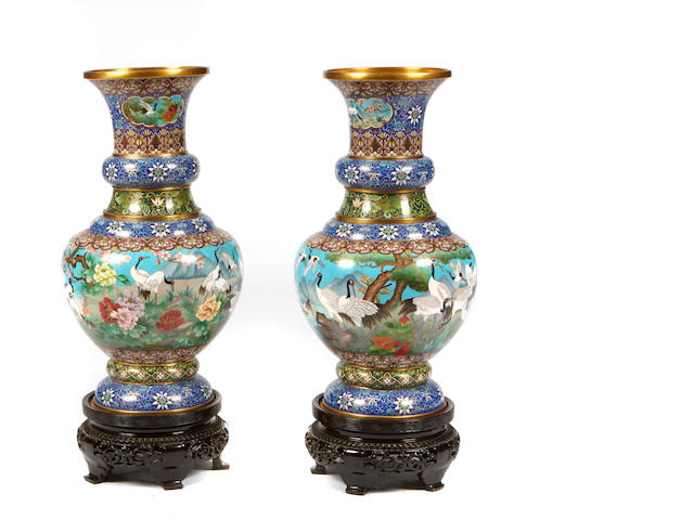 A large pair of cloisonné vases