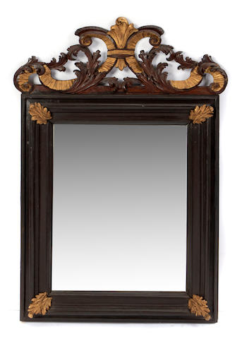 A Rococo style paint decorated mirror