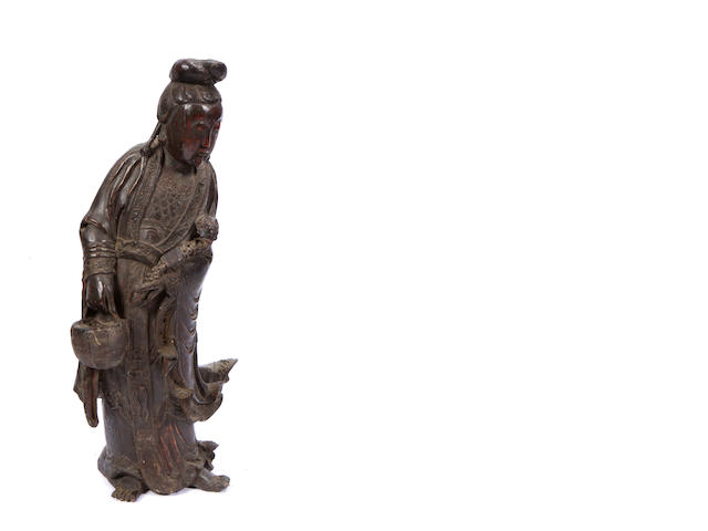 A Chinese lacquered wood figure of Guanyin