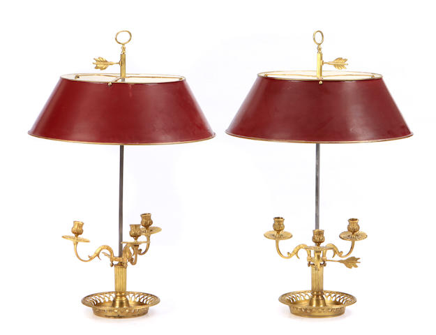 A pair of Neoclassical style gilt bronze and tôle bouillotte lamps