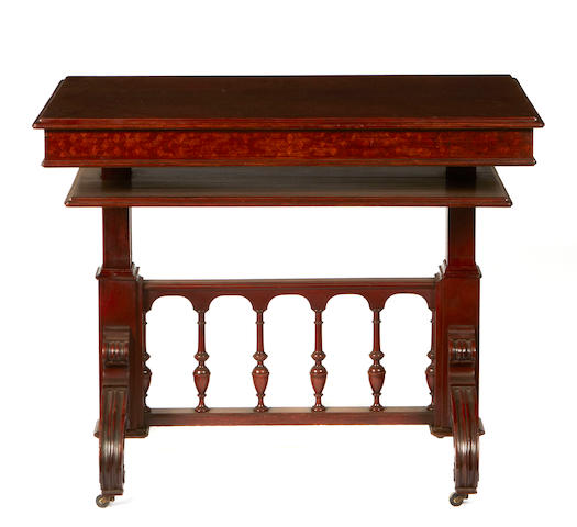 A Regency style mahogany inlaid convertable serving table