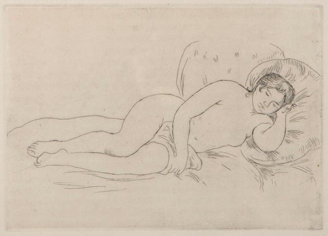 P.A. Renoir, Femme nu couchee, etching, (D.14), framed