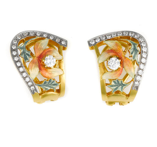 A pair of enamel and diamond flower motif earrings, Masriera