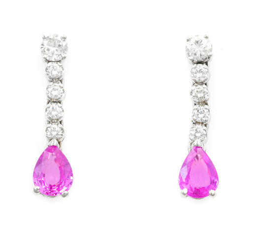 A pair of pink sapphire and diamond earrings, Tiffany & Co.