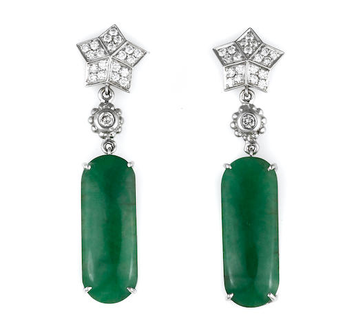 A pair of jadeite jade and diamond earrings, Fred, Paris