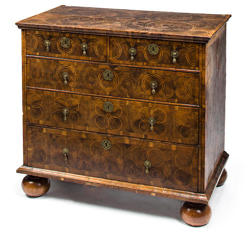 A William and Mary olivewood oyster veneered chest fourth quarter 17th century