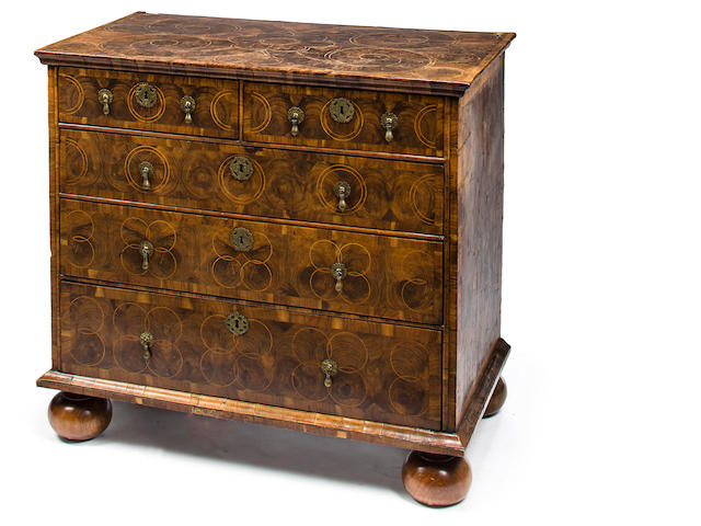 A William and Mary walnut oyster veneered chest<BR />fourth quarter 17th century