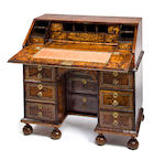"A William and Mary pewter inlaid ""mulberry"" kneehole desk in the manner of John Coxed<BR />fourth quarter 17th century"