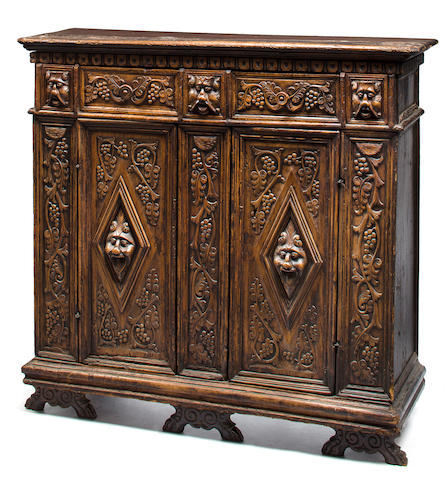 An Italian Renaissance  walnut credenza<BR />late 16th/early 17th century