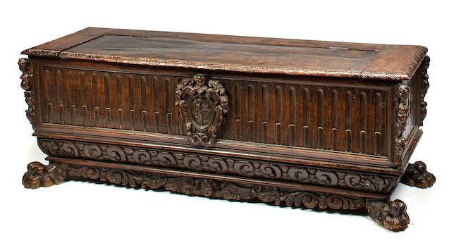 An Italian early Baroque walnut cassone<BR />early 17th century