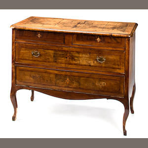 A North Italian Rococo inlaid walnut commode. third quarter 18th century